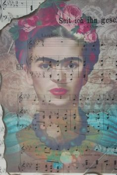 Ich kanns nicht fassen, nicht glauben - zauberhafte Collage auf Musiknoten, gerahmt in einem antiken, Blattgold besetzten Holzrahmen.