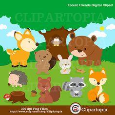 Animales del bosque Digital clipart / Animales clip por ClipArtopia, $5,00