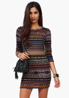 Awesome Sweater Dress with Aztec Print. Pair with leggings and fringe booties or knee high boots.