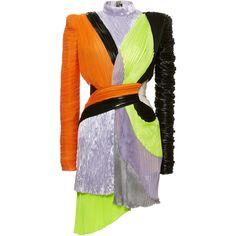 Mixed Material Pleated Dress | Moda Operandi ($13,000) ❤ liked on Polyvore featuring dresses, balmain, balmain dress, mini dress, mock neck dress and mock neck mini dress