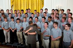 President Barack Obama hugs a member of the American Legion Boys Nation in the East Wing during their tour of the White House, July 27, 2012. (Official White House Photo by Lawrence Jackson)