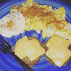 #Brinner!!! Scrambled eggs (and one fried egg) and sausages with a cheese slice...yum!! #keto #lowcarbhighfat #lowcarb #lchf #ketojourney #losingit by ketojess_rn
