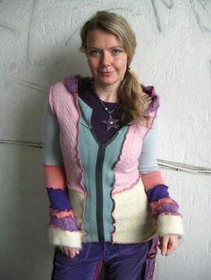 pink and purple  rainbow fuzzy jacket