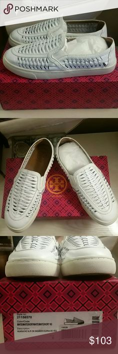 Like New Tory Burch Sneaker Worn once. Excellent condition.  Tory Burch elevates rustic huarache-style weaving with lizard-embossed trim on this slip-on sneaker for an earthy twist on the sporty favorite.  Perfect for the upcoming season.  Leather upper and sole.  Size 8. Website said they were true to size, but my opinion is that they also fit an 8.5 comfortably too.  Comes with orginal box.  *No trades, thank you* *Please use offer button to make offer/discuss pricing * Tory Burch Shoes…