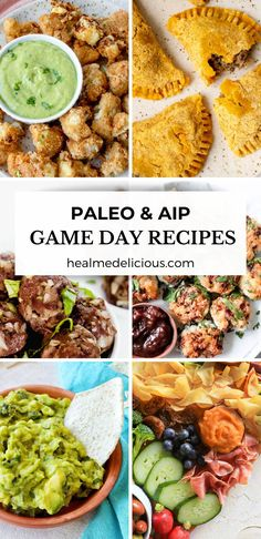 This roundup of paleo and AIP Game Day Recipes is filled with simple, healthy and tasty snacks, munchies and appetizers for you to enjoy as you watch the Super Bowl. #aiprecipes #paleorecipes #paleo #aip #aipdiet #autoimmunepaleo #aipprotocol #autoimmunedisease #gamedaysnacks #gamedayfood #healthysnacks #superbowlsnacks #appetizers #aipappetizers #aipsnacks #aipsides #footballfood #superbowl #gameday #healmedelicious Paleo Appetizers, Tasty Snacks, Easy Appetizer Recipes, Dinner Recipes, Paleo Dinner, Healthy Chicken Recipes, Paleo Recipes, Paleo Meals, Nightshade Free Recipes