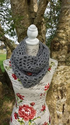 Cowl Scarf Grey Chunky Crochet Double Handmade by LavishHoops Chunky Crochet, Cowl Scarf, Cowls, Scarfs, High Neck Dress, Trending Outfits, Grey, Handmade Gifts, Vintage