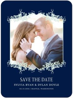 Fanciful Corners - Signature White Photo Save the Date Cards - Southern Living Magazine - Baltic - Blue : Front