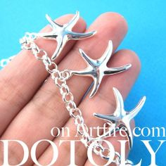 $10 Starfish Star Shaped Sea Animal Charm Chain Linked Bracelet in Silver