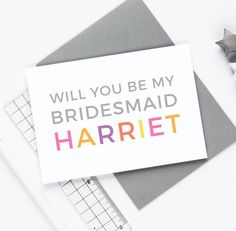 Personalised Bridesmaid Card  Wedding Shower Card by Studio9Ltd