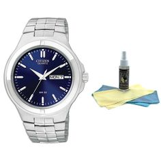 Citizen BF0590-53L Men's Quartz Stainless Steel Bracelet Blue Dial Day Date Watch with 30ml Ultimate Watch Cleaning Kit