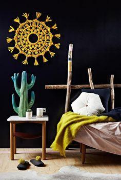Black and Yellow Interior - Macrame Decorating Ideas