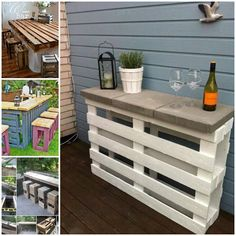 Love this small outdoor table. Pallet and cement blocks.
