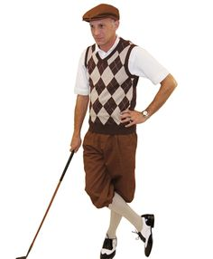 This brown and khaki sweater vest completes our Men's Golf Knickers Outfit with brown knickers and cap.