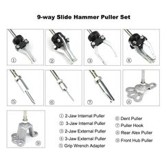 9-way wheel and hub puller Slide Hammer, Professional Tools, Blow Molding, Chrome Plating