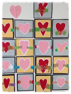"""Pun/vaal.pun A4, joka taitetaan, siihen piirretään vapaalla kädellä puolikas sydän -> leikataan irti > sydän liimataan valk. A4:lle huolella reunoja myöden > piirretään lyijykynällä noin 1cm etäisyydelle sydämestä ulompi sydän -> leikataan kynäviivaa pitkin. Valmis sydän liimataan kulta- tai hopeapeperille > se vielä mustalle paperille, jonka ope leikkaa reunoista tasaiseksi. Väripapereista valitaan """"hihat"""" ja kämmenet > liimataan työhön. N. 60 min (Alakoulun aarreaitta / Minna Kristiina…"""