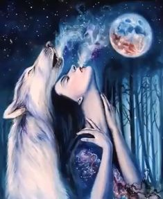 Nelly and my! Native American Wolf, Native American Pictures, Native American Artwork, Beautiful Fantasy Art, Beautiful Gif, Wolves And Women, Native American Spirituality, Mythical Creatures Art, Dream Catcher Art