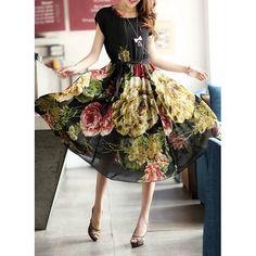 Vestido de gasa con cuello redondo con estilo de la flor de impresión Las mujeres de manga corta de cintura alta