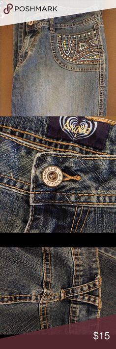 Angels jeans/ bead embellished front pockets  Pre-loved flare leg Angels jeans. Size 13. Bugle beads on front pockets, no back pockets. 55% ramie 25% cotton 18% polyester 2% spandex. Laying flat waist measures 15 inches, 31 inch length. Angels Jeans