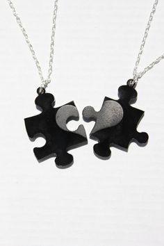 Missing Puzzle Piece necklace set by TheGeekStudio on Etsy