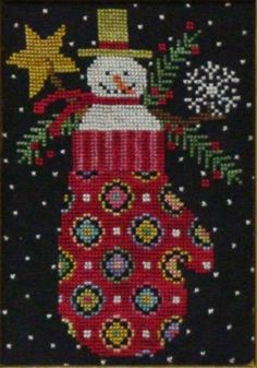 Primitive Cross Stitch Pattern Snowman in by PrimitiveQuilting, $4.00
