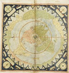 """Not so much a flat map, but have you seen the map of Piri Reis? Supposedly a map drawn in 1513 showing """"accurately"""" Antarctica with no ice? very interesting."""