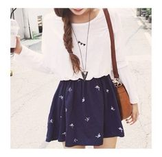 *(Cute outfit (: Teen fashion ☮) Nautical Circle Skirt and long sleeve tee. Cute Fashion, Look Fashion, Teen Fashion, Autumn Fashion, Fashion Outfits, Dress Fashion, Fashion Clothes, Korean Fashion, Spring Fashion