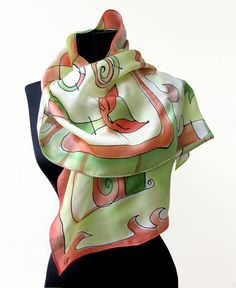 Paint by hand scarf with cats in red and green . by AHouseAtelier, $70.00