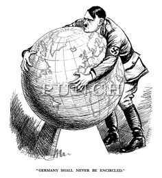 """Germany Shall Never Be Encircled."" - 1939 - Hitler tries but fails to pick up the world - Punch magazine cartoon by E H Shepard Cartoon Cartoon, History Cartoon, Cartoon Shows, Francisco Miranda, Vintage Oddities, Satirical Illustrations, Arm Art, Political Cartoons, Political Party"