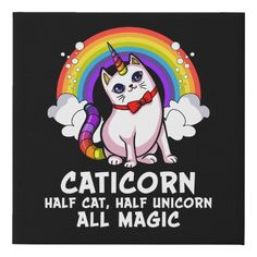 Shop Cat Unicorn Magical Caticorn Kitten Rainbow Pet Faux Canvas Print created by UnderHeaven. Unicorn Fantasy, Unicorn Cat, Funny Unicorn Memes, Bless The Child, Carousel Horses, Inner Child, Dog Bowtie, Animal Design, Laugh Out Loud
