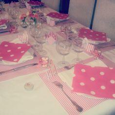 2 ans de Jeanne pois et rayures roses et blancs.