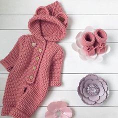 Baby Girl Crochet, Newborn Crochet, Crochet Baby Hats, Crochet For Kids, Knit Crochet, Baby Knitting Patterns, Baby Patterns, Baby Bunny Costume, Onesie Pattern