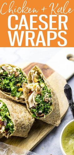 These veggie-filled Chicken and Kale Caesar Wraps are the perfect on-the-go lunch and include a lighter vegetarian caesar dressing! #chickenkale #caeserwraps Clean Eating Recipes, Lunch Recipes, Low Carb Recipes, Great Recipes, Whole Food Recipes, Delicious Recipes, Winner Winner Chicken Dinner, Lunch To Go, Soup And Sandwich