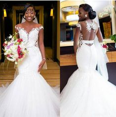 African Mermaid Wedding Dresses Sexy Backless Lace Black Girl Applique Sweep Train Beach Bohemian Wedding Dress Sheer Neck Bridal Gowns from MrTang - Bohemian Beach Wedding Dress, Sheer Wedding Dress, African Wedding Dress, Black Wedding Dresses, Backless Wedding, Tulle Wedding, Bridal Dresses, Wedding Gowns, Butterfly Wedding Dress