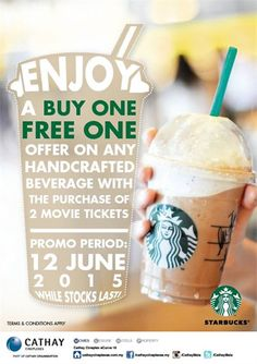 12 Jun 2015: Cathay Cineplex Starbucks Buy 1 FREE 1 Promotion