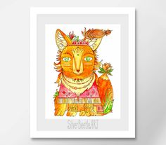Nursery Print Woodland Nursery Animal Art Fox Print Wall Art Baby Girl Wall Decor Boho Printables Nursery Decor  My prints are a high quality image on a thick, beautiful, textured paper (the base weight of the paper is 250 - 300g). The drawings are bright.  All prints in the shop printed by the originals of my works.  I care about your orders therefore all prints are packed in the thick corrugated cardboard and sealed in a postal plastic bag to the transporting. Such packaging allows the…