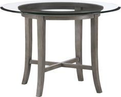 """Halo Grey Dining Table with 42"""" Glass Top    CrateAndBarrel.com. It's too bad they don't have chairs to go with this table. As reviews indicated, chair legs may have difficulty getting close enough to table to eat comfortably! :-("""