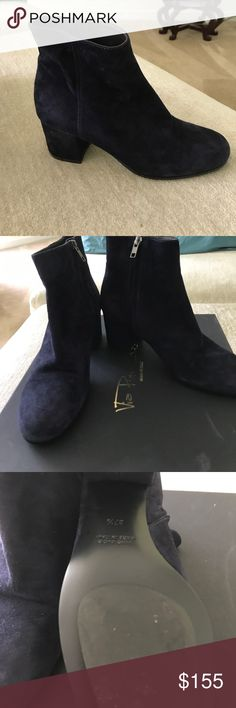 Blue suede booties NWB Blue suede booties great new heel for the year this  popular look is all the rage I love mine have in blue and black this is the last pair please enjoy via roma 15 Shoes Ankle Boots & Booties
