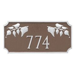 Montague Metal Products Camden Ivy 1 Line Address Plaque Finish: White/Black