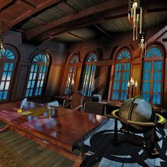 utilize the orangery windows for the interior of the pirate captain's cabin ... aboard