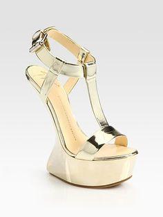 Giuseppe Zanotti - Metallic Leather Curved-Wedge T-Strap Sandals