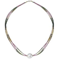 "PearlAura 14 Karat Gold 2mm Round Faceted Multi Tourmaline and 12-15mm Round Cultured Freshwater Pearl Necklace 18"", Women's"