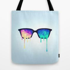 """Psychedelic Nerd Glasses with Melting LSD/Trippy Color Triangles"" Tote Bag by Badbugs_art on Society6."