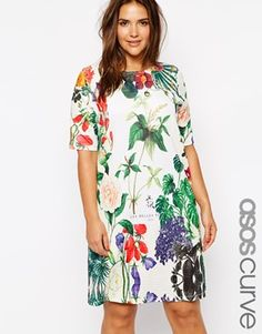 Image 1 of ASOS CURVE T-Shirt Dress In Botanical Floral Print