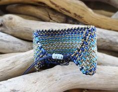 Blue and gold macrame braceletBoho macrame cuffHandwoven
