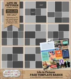 Life in Pictures: Page Template Basics | 9 assorted templates for your Project Life pics - #projectlife #project #365