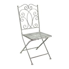 Ascalon Heritage Folding Chair in Grey. A stylish and sturdy metal Chair for outdoor use finished in grey coloured paint. Features folding back for easier storage. From Lock Stock and Barrel Furniture.