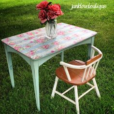 Floral decoupage end table; could also be used as a little girl's tea party table! :) so adorable! Painted robin's egg blue and distressed, covered in dark wax. Available now! - Junk Love Boutique www.facebook.com/junkloveboutique