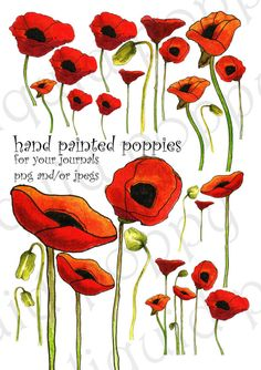 Collage Sheet of Handpainted Poppies Use in digital by liquidpoppy, $3.00