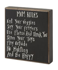 Loving this 'Mom Rules' Box Sign on #zulily! #zulilyfinds