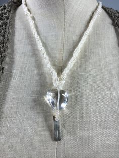 a song of hope and love embracing you . tiny silver shimmers as the quartz heart flashes light . Long Time Friends, Texture Art, Handmade Necklaces, Precious Metals, Wearable Art, Arrow Necklace, Dangles, Fiber, Quartz